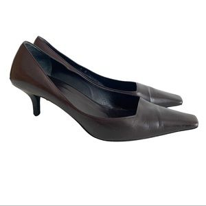 Gucci Brown Leather Pointy Toe Shoes Pumps Italy 8